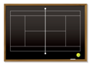 Royalty Free Clipart Image of a Tennis Court Outline on a Blackboard