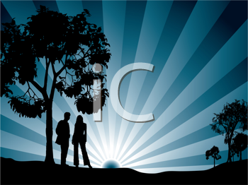 Royalty Free Clipart Image of a Couple at Sunrise