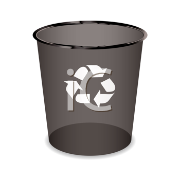 Black transparent trash or waste recycle bin