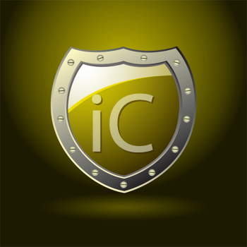 Blank golden shield with room for text and silver bevel