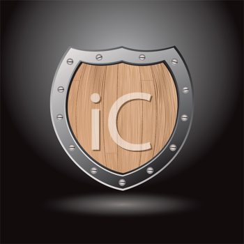 Royalty Free Clipart Image of a Wood Shield With a Dark Background
