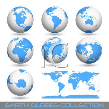 Royalty Free Clipart Image of a Collection of Globes