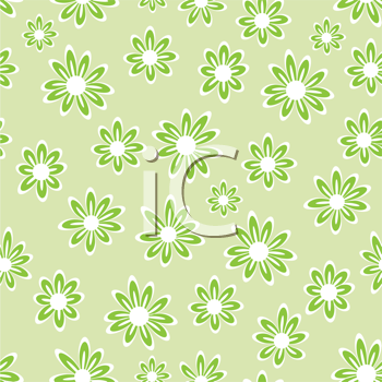 Royalty Free Clipart Image of a Green Floral Background