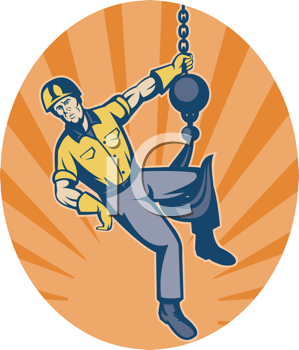 Royalty Free Clipart Image of a Construction Work on a Hook