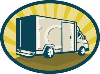 Royalty Free Clipart Image of a Moving Van