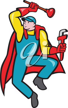 Illustration of a superhero super plumber jumping with cape holding monkey wrench and plunger done in cartoon style on isolated background.