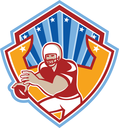 Illustration of an american football gridiron quarterback player throwing ball facing front set inside crest shield with stars and sunburst done in retro style.