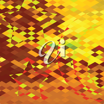 Low polygon style illustration of an autumnal forest abstract background.