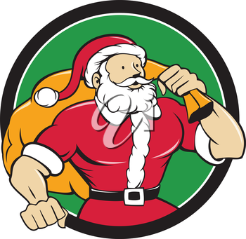 Cartoon style illustration of a muscular super santa claus saint nicholas father christmas  carrying sack over shoulder looking to the side set inside circle on isolated background.