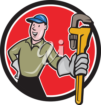 Illustration of a plumber with gloves holding presenting monkey wrench set inside circle shape on isolated background done in cartoon style.