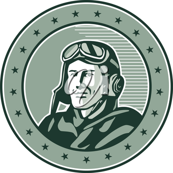 Illustration of a vintage world war one pilot airman aviator bust smiling set inside circle with stars done in retro style.