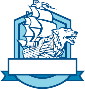Retro style illustration of a Galleon sailing ship With Wolf in Bow set inside shield Crest on isolated background.