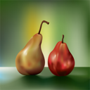 Royalty Free Clipart Image of a Pear and an Apple