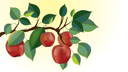 Royalty Free Clipart Image of Apples on a Tree