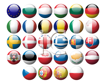 Royalty Free Clipart Image of a Set of European Flag Icons