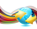 Royalty Free Clipart Image of a Rainbow Stripe With a Globe Encircled By An Arrow