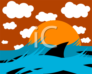 Royalty Free Clipart Image of a Shark Fin in the Water at Sunrise
