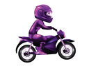 Girl Racing With Shiny Purple Suit on White Background