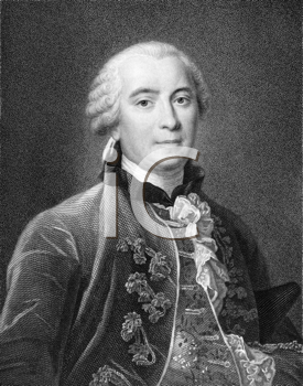 Royalty Free Photo of Buffon (1707-1788) on engraving from the 1800s. French naturalist, mathematician, cosmologist, and encyclopedic author. Engraved by R. Hart and published in London by Wm. S. Orr