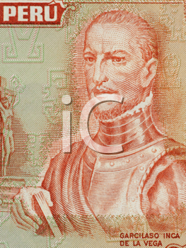 Royalty Free Photo of El Inca Garcilaso de la Vega on 10 Soles De Oro 1974 Banknote from Peru. Historian and writer recognized for his contributions to Inca history, culture and society.