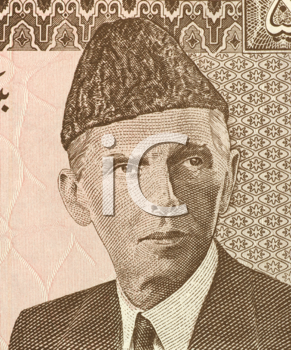 Royalty Free Photo of Mohammed Ali Jinnah (1876-1948) on 5 Rupees 1984 Banknote from Pakistan. Lawyer, politician, statesman  and founder of Pakistan.