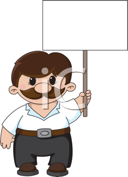 Royalty Free Clipart Image of a Guy Holding a Blank Sign