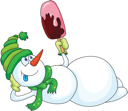 Royalty Free Clipart Image of a Snowman With an Ice-Cream Treat