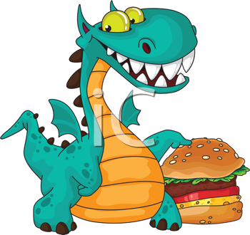 illustration of a great dragon and burger