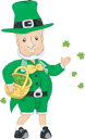 Royalty Free Clipart Image of a Leprechaun Throwing Shamrocks