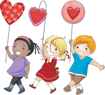 Royalty Free Clipart Image of Children With Valentine Balloons