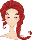 Royalty Free Clipart Image of a Girl With Red Hair Shaped Like a Scorpion's Tail