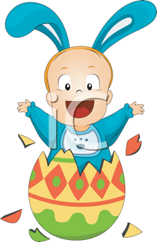 Royalty Free Clipart Image of a Boy in a Bunny Costume Jumping Out of a Painted Egg