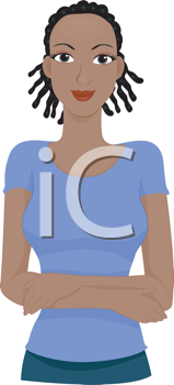 Royalty Free Clipart Image of an African American Woman With Dreadlocks Standing With Her Arms Crossed