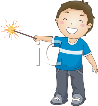 Royalty Free Clipart Image of a Little Boy With a Sparkler