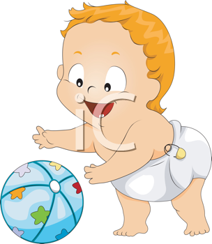 Royalty Free Clipart Image of a Baby Playing With a Ball