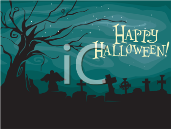 Royalty Free Clipart Image of a Happy Halloween Greeting With a Graveyard