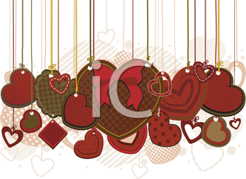 Royalty Free Clipart Image of Hearts on Strings