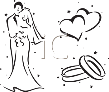 Royalty Free Clipart Image of a Bride and Groom Rings and Hearts