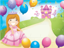Royalty Free Clipart Image of a Little Princes on a Path With Balloons in Front of a Castle
