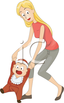 Royalty Free Clipart Image of a Mother Helping a Baby Learn to Walk