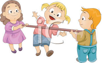 Royalty Free Clipart Image of Children Doing the Limbo