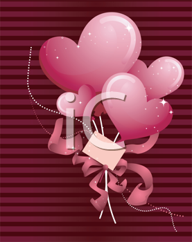Royalty Free Clipart Image of a Heart Balloon Background