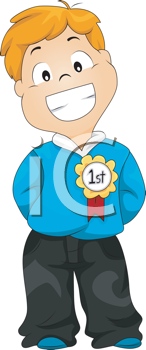 Royalty Free Clipart Image of a Boy With a First Place Ribbon