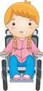 Royalty Free Clipart Image of a Child in a Wheelchair