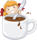 Royalty Free Clipart Image of a Girl Stirring a Cup of Hot Cocoa