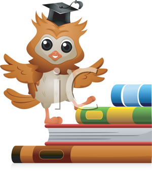 Royalty Free Clipart Image of an Owl Walking Up Books