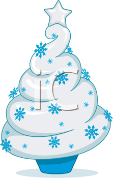 Royalty Free Clipart Image of a Christmas Tree Shaped Soft Ice-Cream Cone
