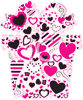 Royalty Free Clipart Image of Heart Doodles