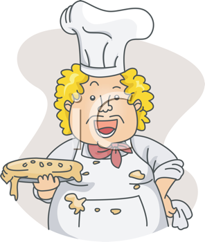 Royalty Free Clipart Image of a Dirty Chef With a Sloppy Pie