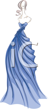 Royalty Free Clipart Image of a Woman in a Long Gown
